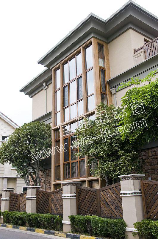 木质幕墙窗案例~-别墅门窗案例 成功案例 温州巨统新型建材有限公司